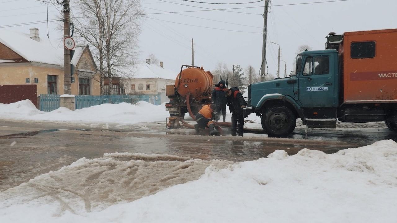 В Северодвинске новая авария привела к затоплению дороги
